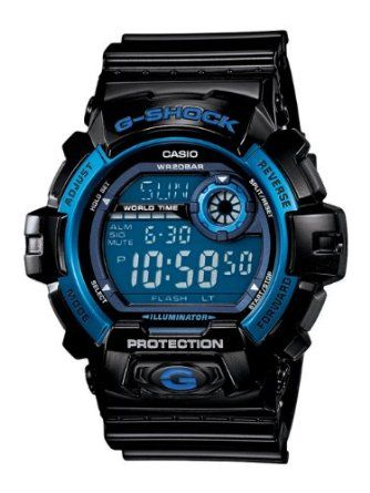 Casio Mens G8900A-1CR G-Shock Shock Resistant Black and Blue Resin Digital Sport Watch