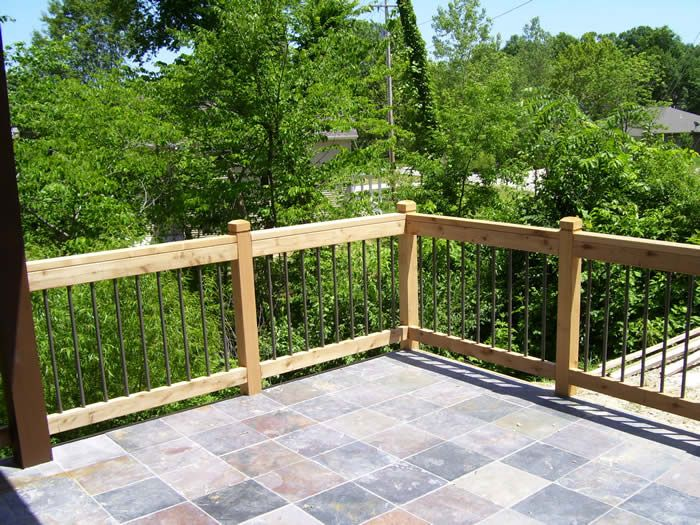 Interesting railing idea.   patios-porches-and-decks | Custom Homes by Tompkins Homes and ...