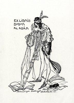 Bookplate by Tibor Bottik for  Bodor Aladár, 1912