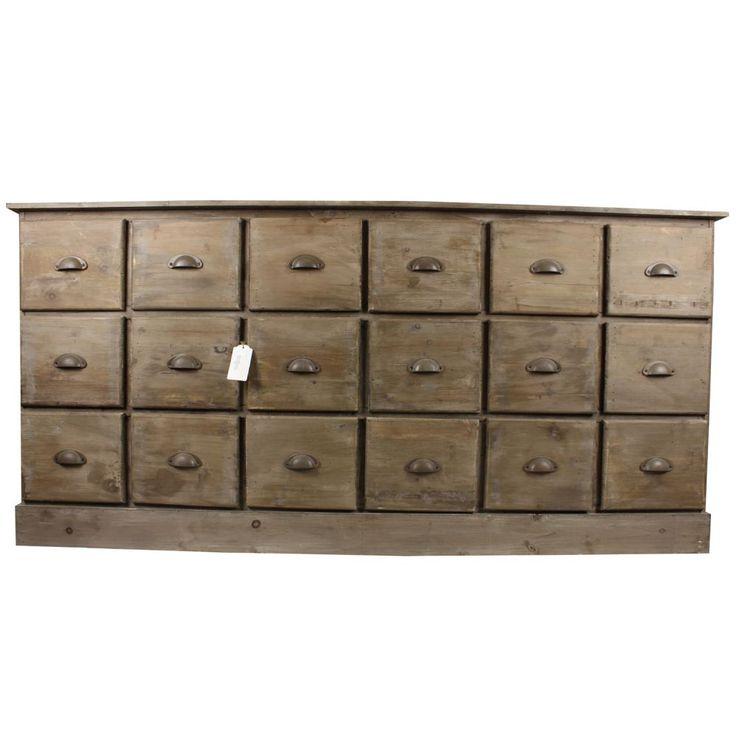 meuble semainier chiffonnier grainetier bois 18 tiroirs