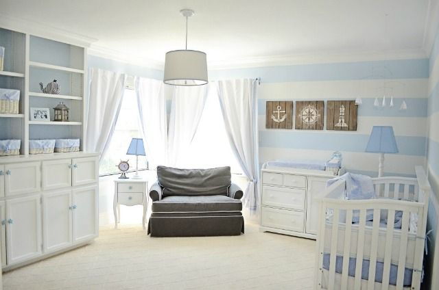 Subtle blue stripes look so great - #nautical #nurseryBaby Rey, Boys Nurseries, Subtle Blue, Projects Nurseries, Blue Stripes, Baby Room, Nautical Nurseries, Projects Gallery, Baby Stuff