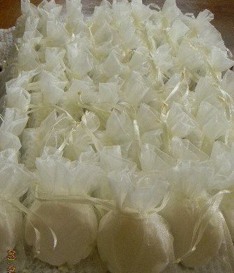 Ivory is certainly the most popular choice for brides this spring. The soaps and organza bags can come in any colour though.