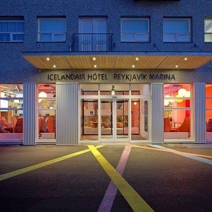 The main entrance to Icelandair Hotel Reykjavik Marina.