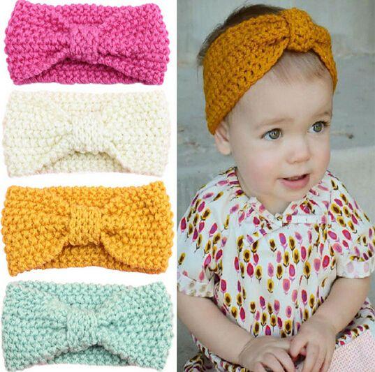 Bebés del ganchillo hicieron punto atar un nudo turbante Headwrap banda para  el cabello invierno Ear