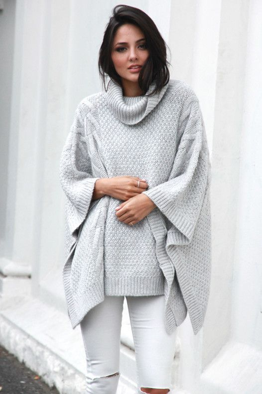 Bells Out Roll Neck Poncho Grey - Madison Square