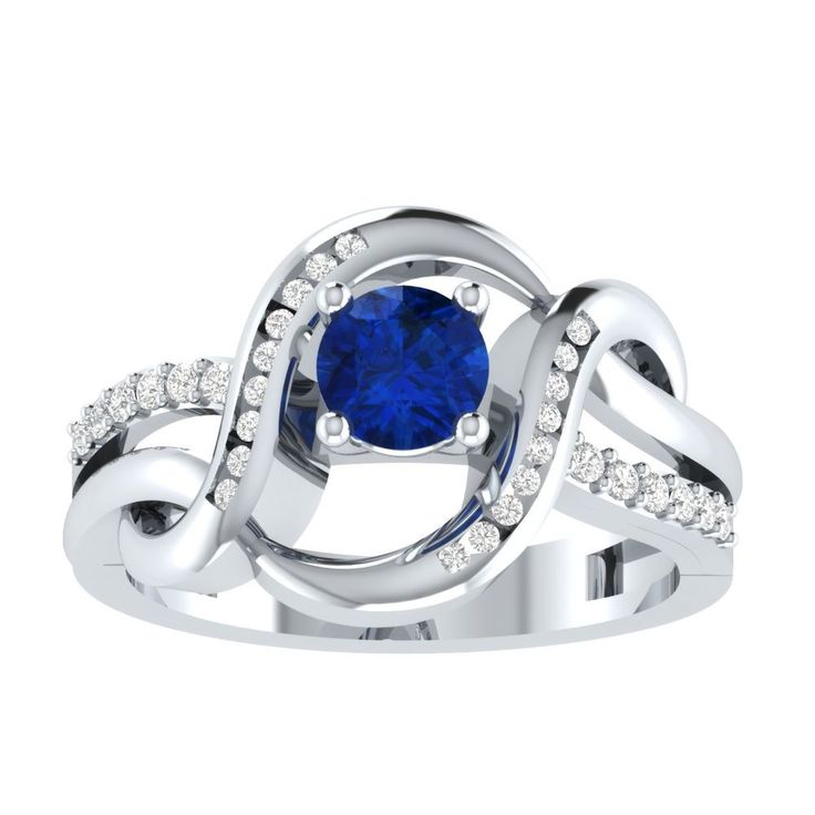1.55ct Blue Sapphire Solitaire Engagement Two Tone Ring in 14kt Gold Over Silver #RegaaliaJewels #Solitaire