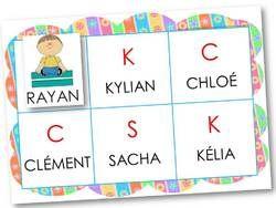 jeu de loto autour des prénoms