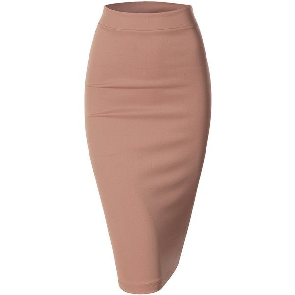 Doublju Women Scuba Pencil Skirt (£7.06) ❤ liked on Polyvore featuring skirts, bottoms, pencil skirt, юбки, beige pencil skirt, beige skirt and knee length pencil skirt