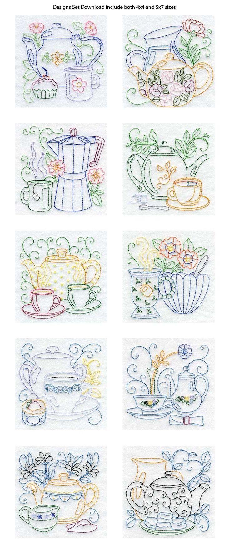 Line Art Tea Pots Embroidery Machine Design Details - Love the patterns for kitchen towels.