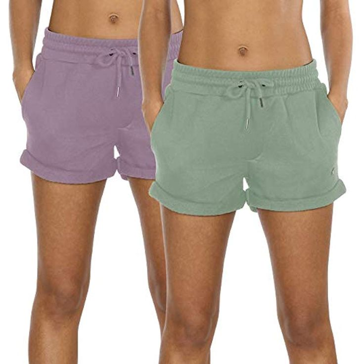 icyzone Damen Sweatshorts 2er Pack Kurze Sporthose Gym Fitness Shorts #Sport-Fre…