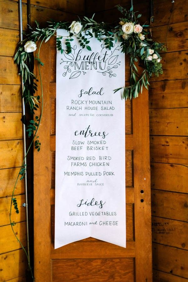 Navy and Gold Barn Wedding in Denver - Buffet Reception Dinner Menu - Hand lettered paper Scroll over a vintage door with floral garland