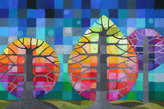 GRANDE cortile con alberi di stampa, geometrico arcobaleno arte lucciole II con dettagli dipinti a mano