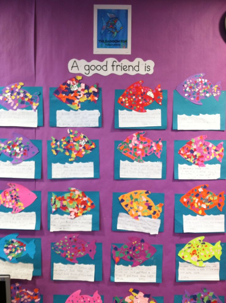 """Every year I read The Rainbow Fish (if I'm teaching primary) and do a writing/art project.  They learn about being a good friend and sharing while I read the story and talk about it. Then we write sentences about what a good friend is and make a tear-art """"rainbow fish"""" with a piece of foil for his shiny fin. My kids love the project and it's a great way to get them thinking and writing the first week back to school. :)"""