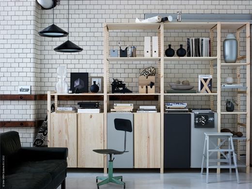 deco atelier: Ivar by Ikea noting the same level shelfs provide a sense of continuity and integration