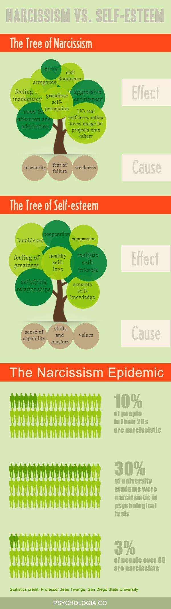 Разница между нарциссизмом и самоуважение
