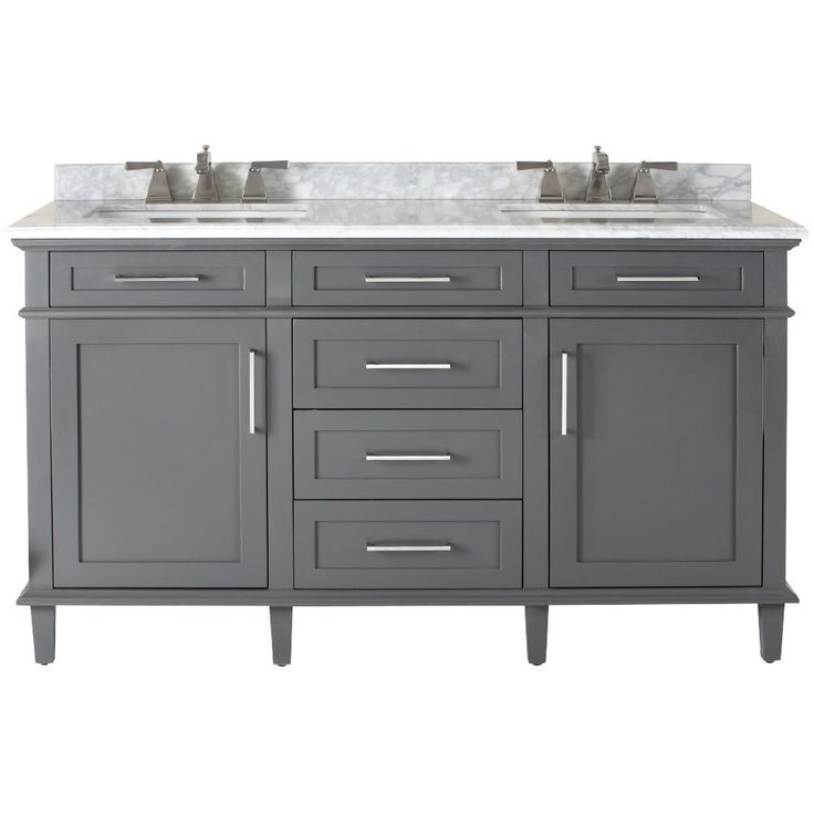 Home Decorators Collection Sonoma 60 in. Double Vanity in Dark Charcoal with Marble Vanity Top in Grey/White with White Basin