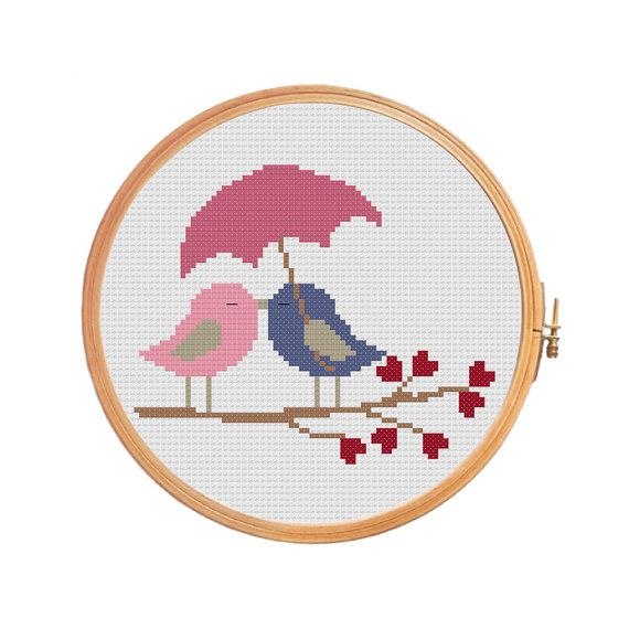 Birds in love under the umbrella cross stitch pattern for wedding.  Gift on Valentines Day, a wedding, a romantic meeting.  Floss: DMC Canvas: Aida 14 Grid Size: 72W x 60H Design Area: 5,00 x 4,14 (70 x 58 stitches)  Number of colors: 7  Use 2 strands of thread for cross stitch.  ONLY PATTERN! This PDF file counted cross stitch pattern is available for instant download.  This PDF pattern Included: - Color image of the finished design - Color Block Chart - Color Floss Legend with DMC stranded…
