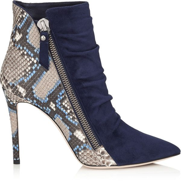 Navy Suede and Violet Blue Painted Python Ankle Booties ($1,285) Snakeskin shoes and boots are trending hard! Enjoy RUSHWORLD boards, UPTOWN SHOES, UNPREDICTABLE WOMEN HAUTE COUTURE and WEDDING GOWN HOUND. Follow RUSHWORLD! We're on the hunt for everything you'll love!