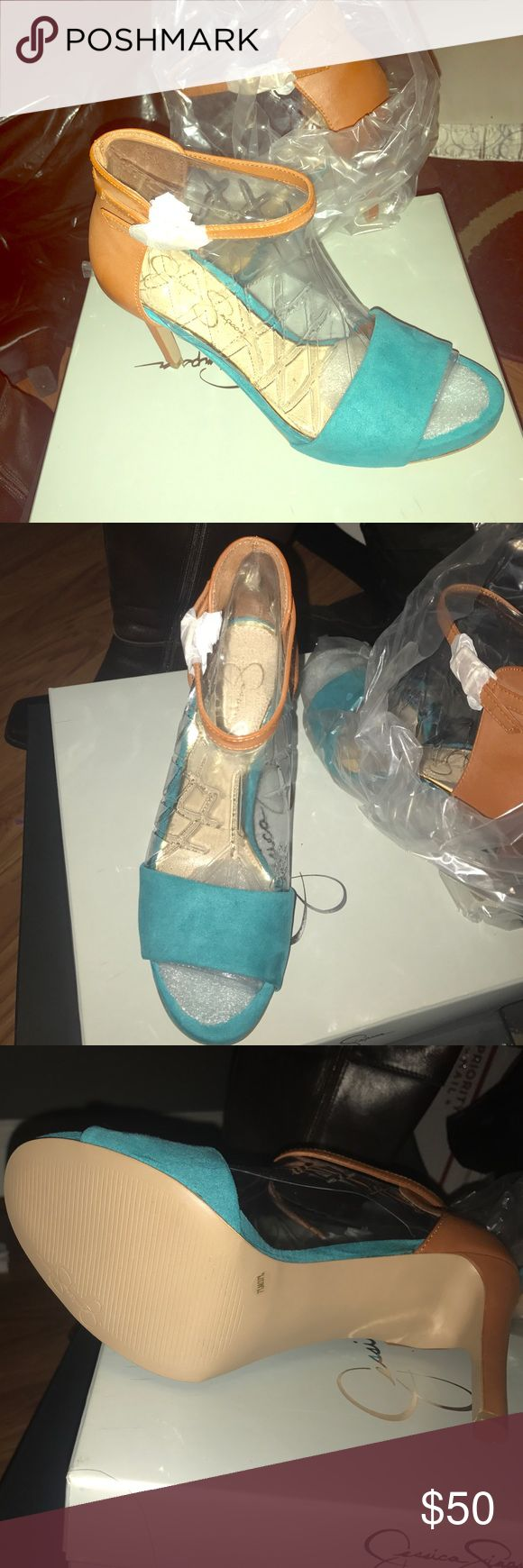 """New in box Jessica Simpson microsuede sandals NWT Jessica Simpson 4"""" microsuede sandals.  Color aqua and beige, brand new. Jessica Simpson Shoes Heels"""