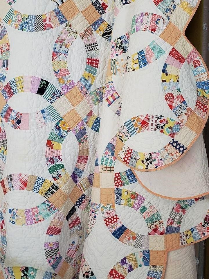 Pretty 1923 Vintage Wedding Ring Quilt Full Provenance 85x73