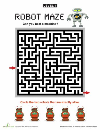 Worksheets: Robot Maze Level 1!