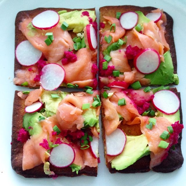 I think this is my new favourite way to enjoy smoked salmon! I've been having fun experimenting with making different flat breads lately, (aka fancy pizzas), because I bought a gluten and dairy fre...