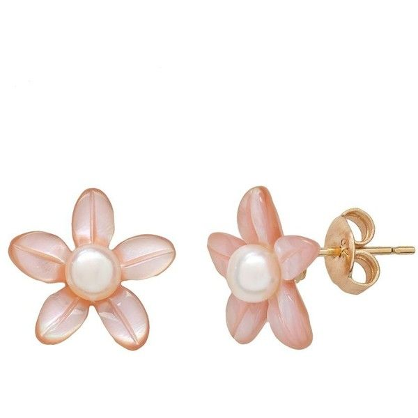 10k Gold Pink Shell & Freshwater Cultured Pearl Floral Stud Earrings ($85) ❤ liked on Polyvore featuring jewelry, earrings, pink, pink earrings, gold earrings, shell earrings, earring charms and round stud earrings