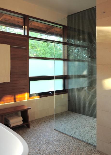 open, like floors, windows and use of wood on walls