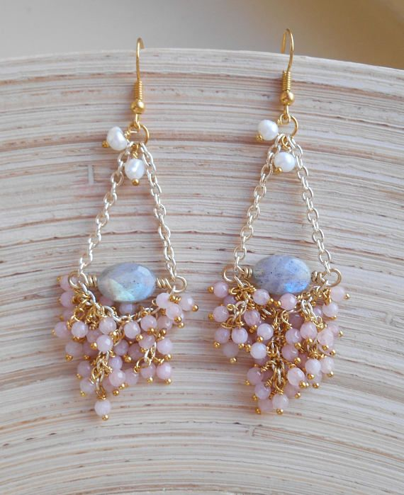 Yvette gemstone chandelier earrings, pink gray bridal cluster dangle earrings, labradorite jade freshwater pearls, gift for her wire wrapped