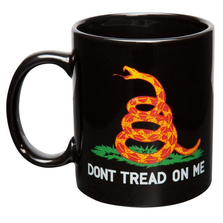 Don't Tread On Me Gadsden Flag Black Coffee Mug & Flag Set