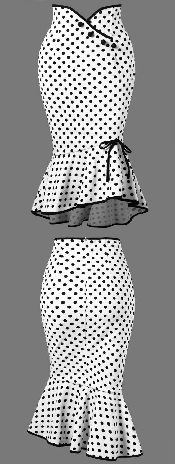 Polka Dot Ruffle Mermaid Skirt