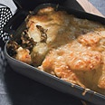 potato gratin with mushrooms and gruyere