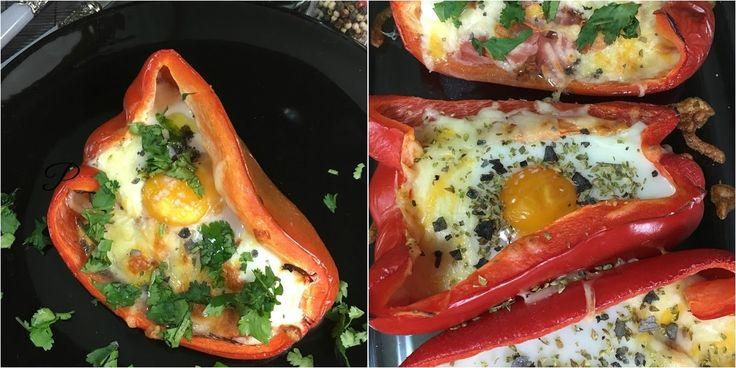 Pimientos rojos rellenos de queso con huevo