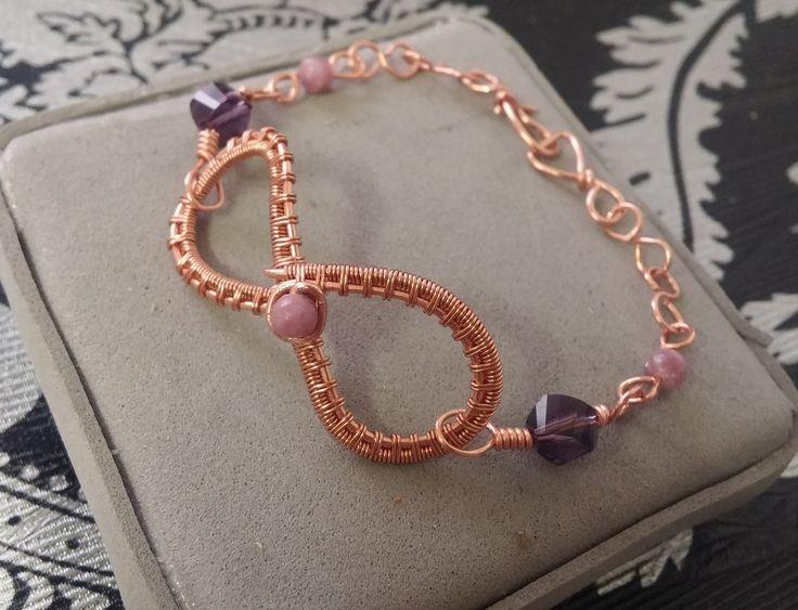 Pulseras de la amistad - Pulsera infinito Bff de cobre y piedra natural. - hecho a mano por Serenity_Creaciones en DaWanda