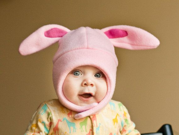 Pink on Pink Bunny Rabbit Baby/Toddler Fleece Hat by mrsPTB, $24.00