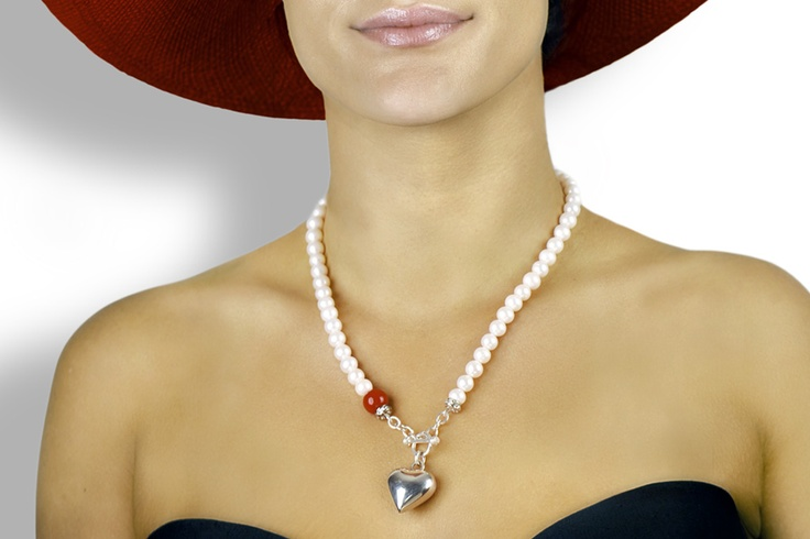 Add a tiny splash of red with this sterling silver and pearl necklace...