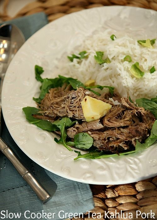 This tasted exactly like pork we had in Hawaii! Slow Cooker Green Tea Kahlua Pork Low Calorie Low Fat Healthy Dinner