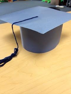 Construction paper graduation hats.