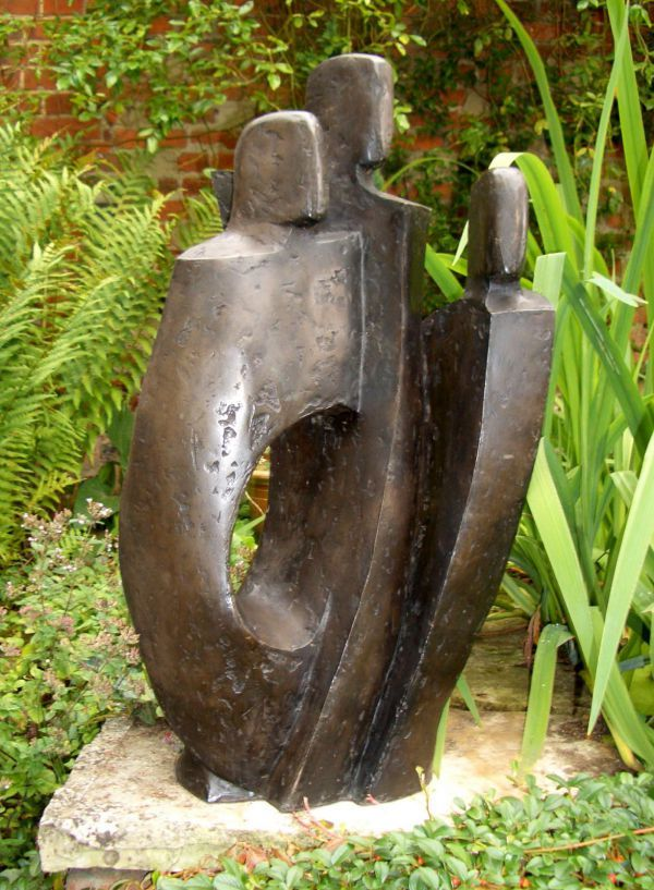 Bronze resin Garden Or Yard / outside and Outdoor sculpture by artist John Brown titled: 'Three (Bronze resin Abstract Family Sculptures)'