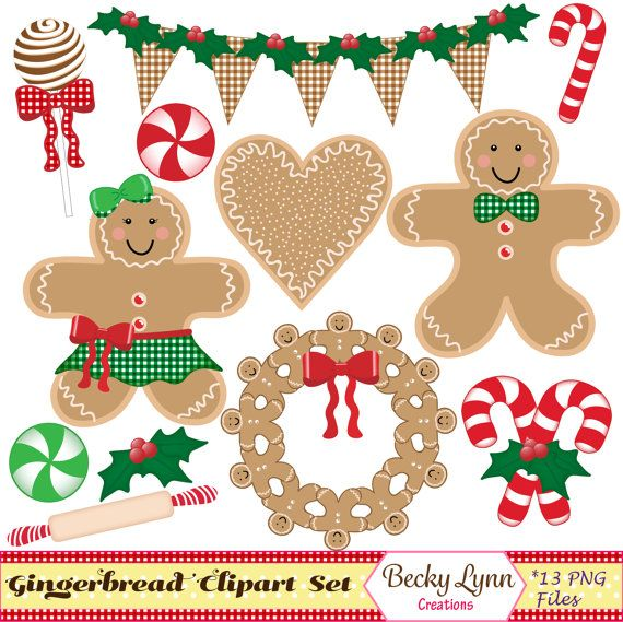 GINGERBREAD MAN CHRISTMAS CLIP ART  This DIGITAL CLIP ART PACK includes:  13 high quality clip art images with transparent background PNG