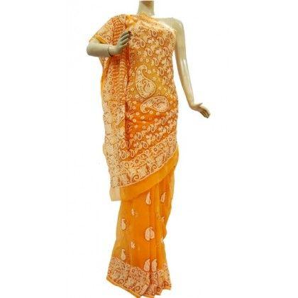 Chiffon Saree Lucknow Chikan (LQDP7645)