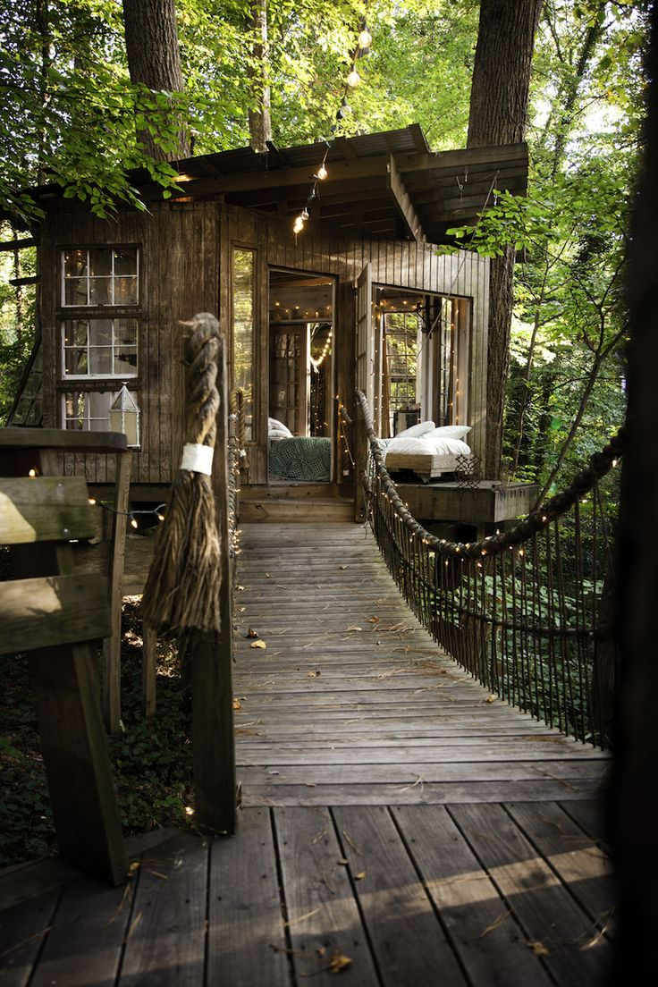 cjwho:  Treehouse, Atlanta, USA by Peter Bahouth | via Architect Peter Bahouth built a series of houses in the trees connected by wooden bridges in Atlanta. Inspired by his love for nature and his childhood memories of boyhood treehouses, environmentalist Peter Bahouth created this grown-up fort in his Atlanta backyard. The three rooms of this treehouse have been named 'Mind,' 'Body' and 'Spirit' by its owner. A suspension bridge connects the living room to the bedroom that includes a…
