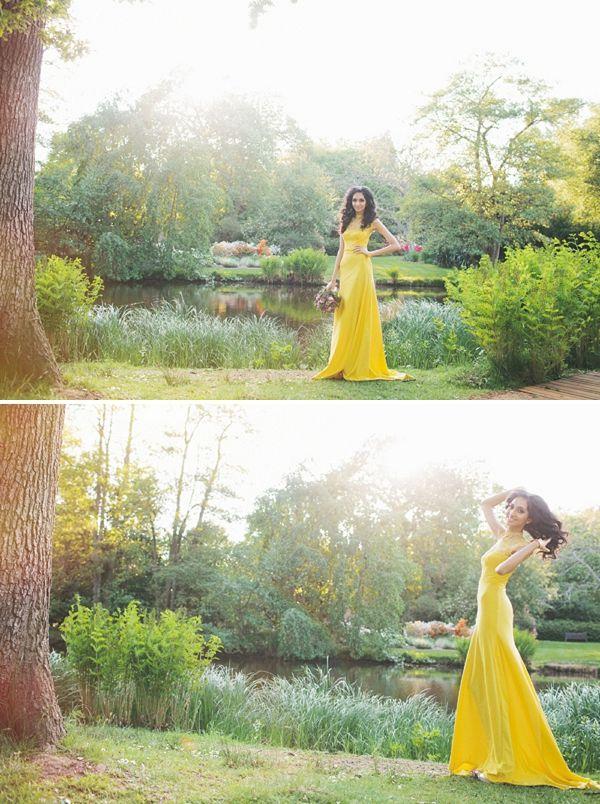 yellow wedding dress, image by Marshal Gray Photography