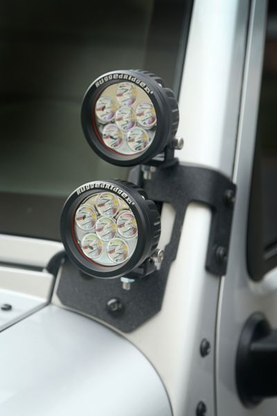 """Rugged Ridge Dual A-Pillar Light Mount Kit with 3.5"""" Round LED Lights 