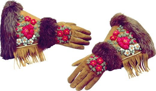 Dene moose hair embroidered gloves Civilization.ca - First Peoples of Canada - We are Diverse