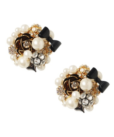 Betsey Johnson Button Pearl/Crystal Earrings