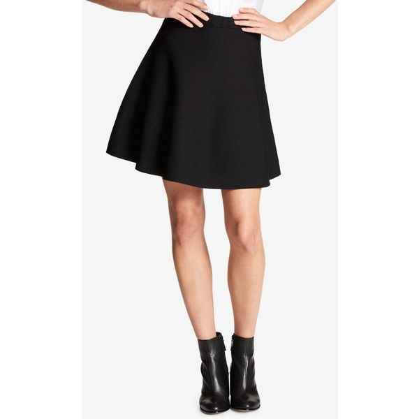 Dkny A-Line Mini Skirt ($99) ❤ liked on Polyvore featuring skirts, mini skirts, black, short skirts, a line skirt, short a line skirt, flare skirts and flared mini skirt