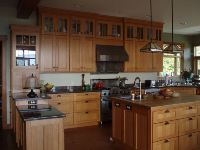 Rift and quartersawn red oak kitchen kitchen cabinet for White mission style kitchen cabinets