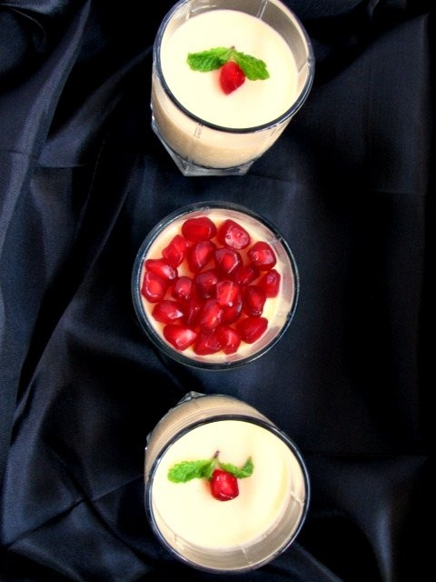 Yoghurt Panna Cotta - Passion Fruit flavoured and topped with Pom