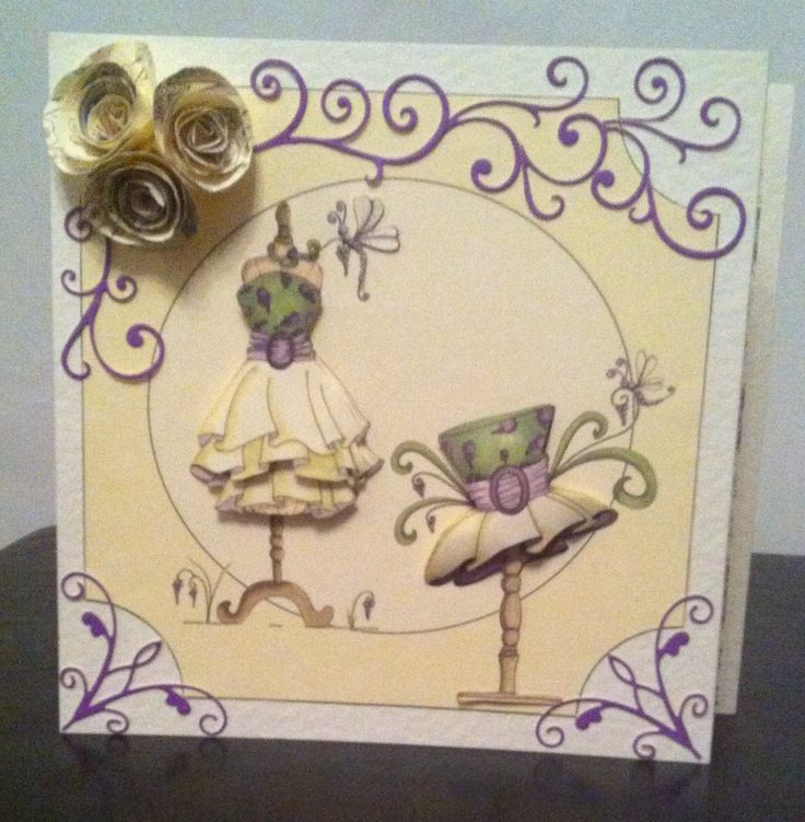 Katy Sue Designs, Fabulous Fashion CD, decoupaged onto cream hammered card and incorporating hand rolled flowers made from paper spirals and a die-namics flourish die and memory box corner die.